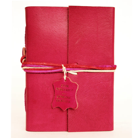 Notebook leather handmade - Adventure - Fuchsia