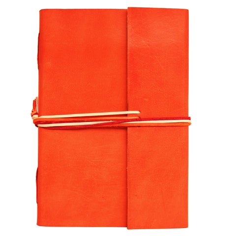 Notebook leather handmade - Adventure - Orange