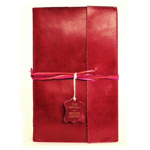 Notebook leather handmade - Adventure - Red