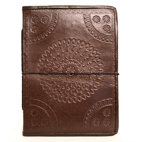 Handmade Leather Notebook - Embossed - 15x20cm