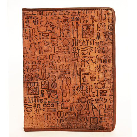 Notebook leather handmade - Hieroglyphics - 15x20cm