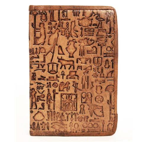 Notebook leather handmade - Hieroglyphics - 10x15cm