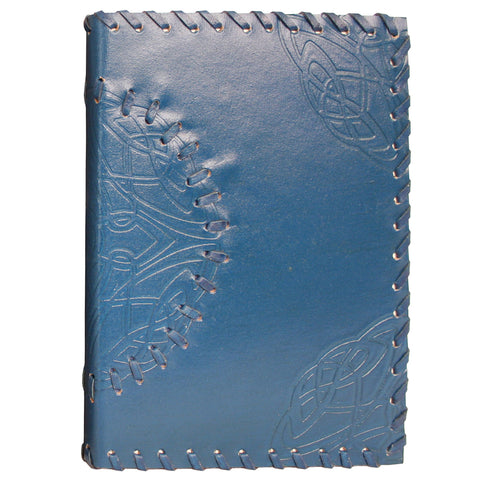 Handmade Leather Notebook - Medallion - Blue - 13x18cm
