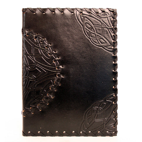 Handmade Leather Notebook - Medallion - Black