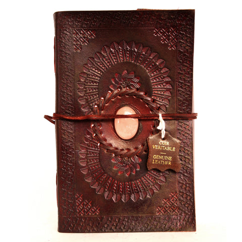 Handmade Leather Notebook - Onyx stone - 13x21cm