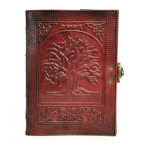 Notebook leather handmade metal closure - Tree