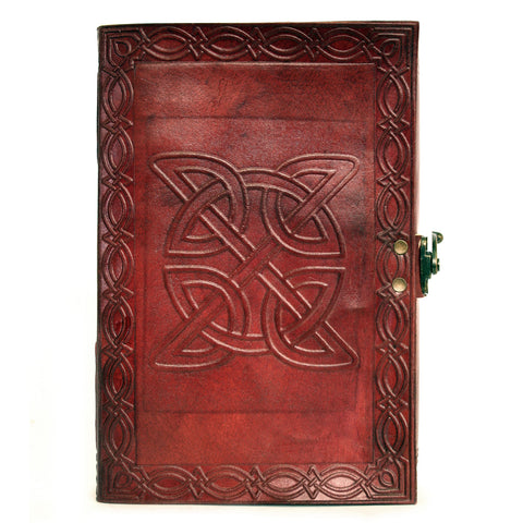 Notebook leather handmade metal closure - Celtic - 15x23cm