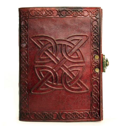 Notebook leather handmade metal closure - Celtic - 12x18cm