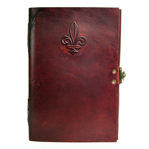 Notebook leather handmade metal closure - Fleur de Lys