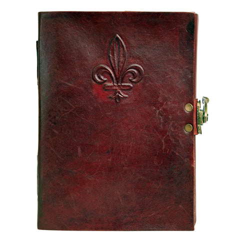Notebook leather handmade metal closure - Fleur de Lys - 12x18cm