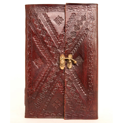 Handmade Leather Notebook with metal closure - 13x21cm