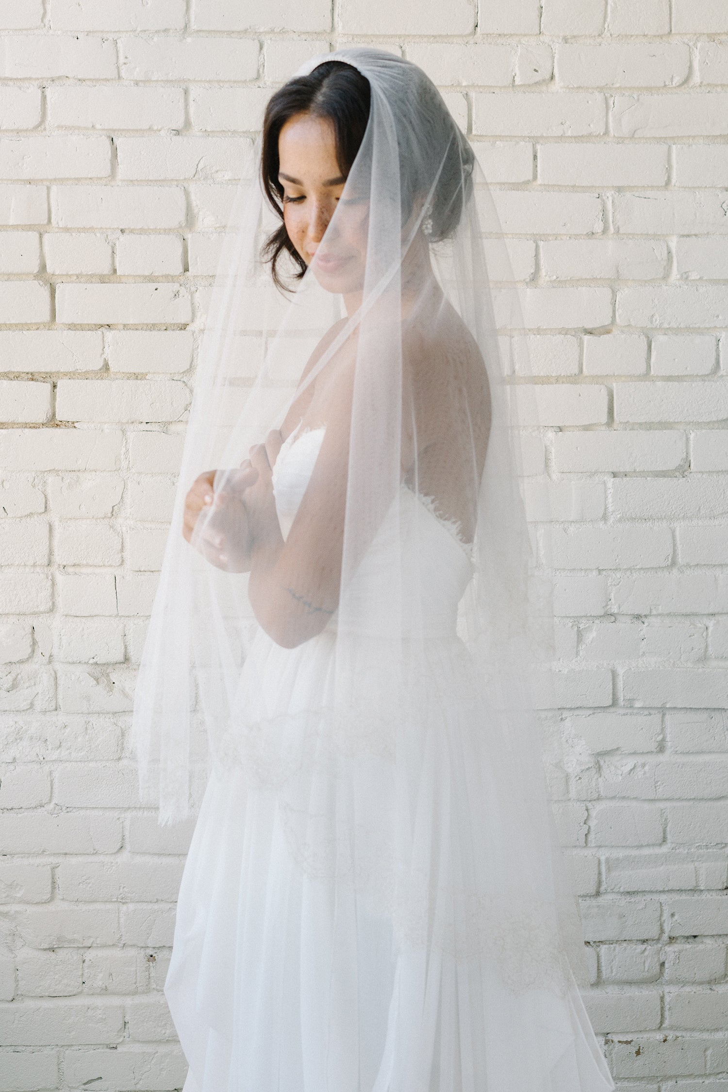 Gold French lace fingertip bridal veil | Sara Gabriel