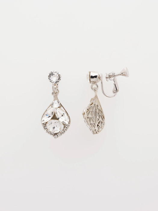 An exotic pair of clip on dazzling mini teardrop earrings made with clear Swarovski crystals. Made by Sara Gabriel.
