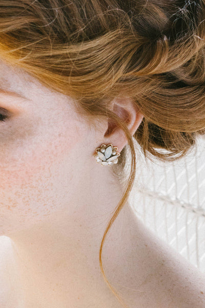 Opal and gold stud earrings | Sara Gabriel