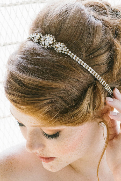 Romantic Swarovski crystal bridal hair ribbon | Sara Gabriel