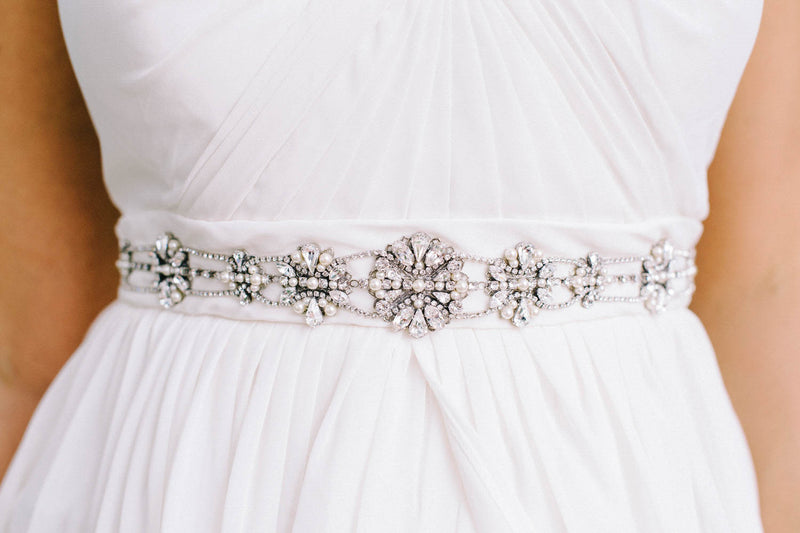 Swarovski crystal and pearl wedding belt