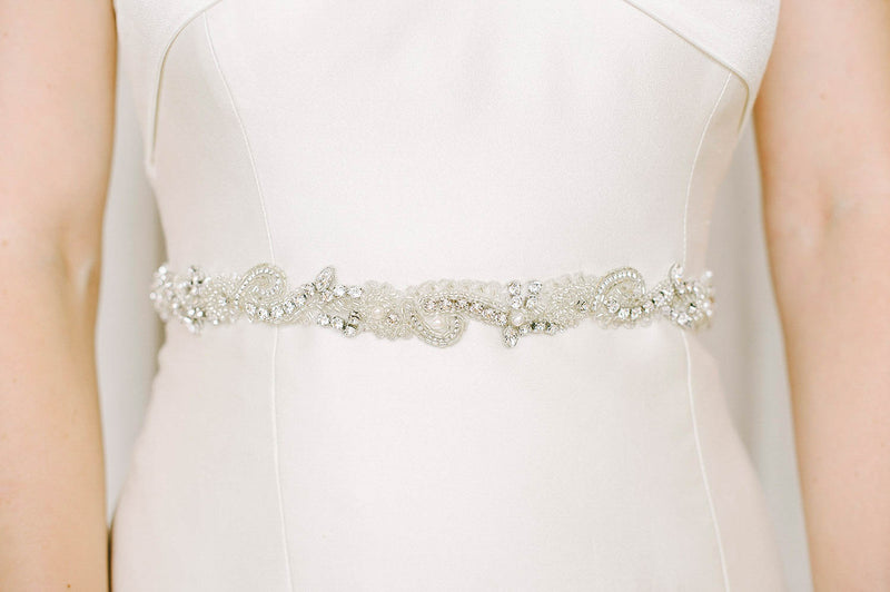 Crystal and pearl bridal belt | Sara Gabriel