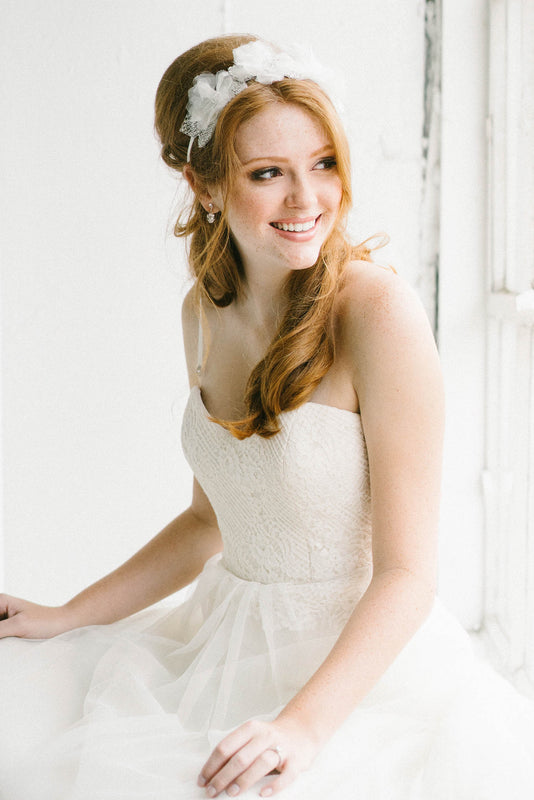 Silk tulle flower bridal hair ribbon | Sara Gabriel
