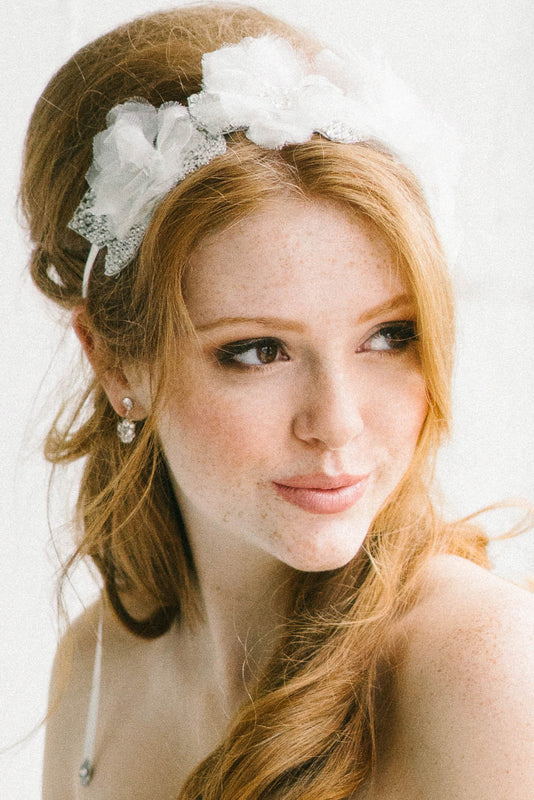Silk tulle flower wedding headpiece | Sara Gabriel
