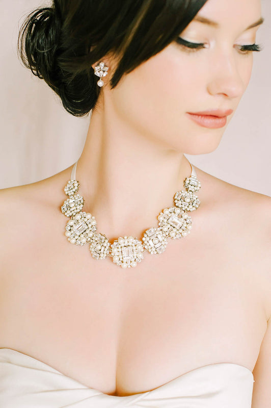 Crystal and pearl statement necklace | Sara Gabriel