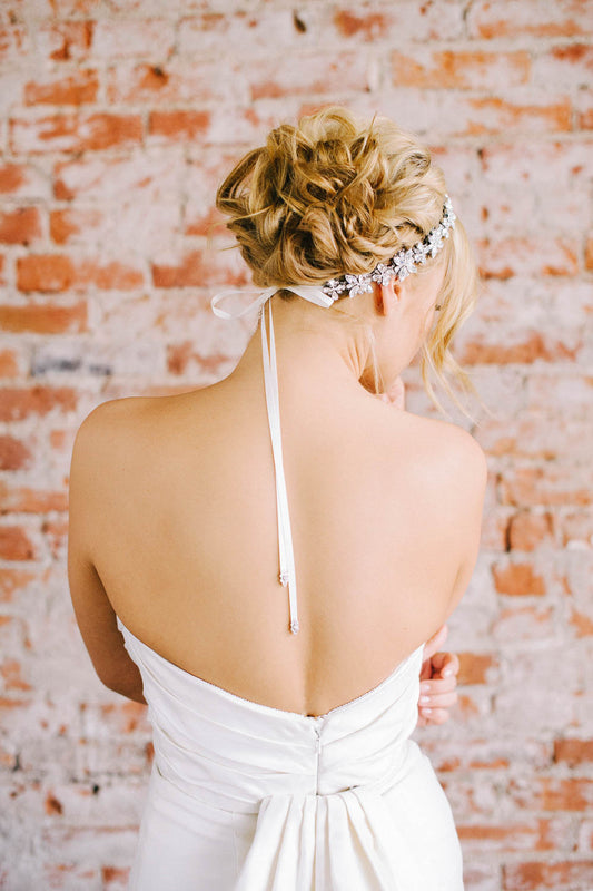 Floral crystal wedding headpiece | Sara Gabriel