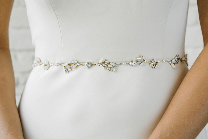 Leaf and floral crystal bridal belt with pearl detailing | Sara Gabriel