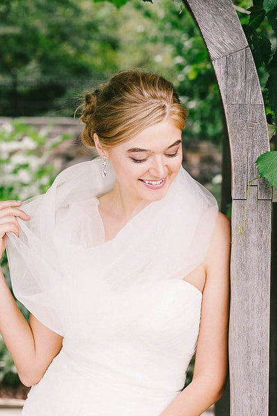Sheer tulle winter wedding scarf