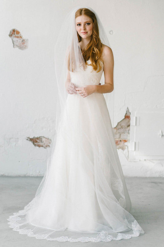 Scalloped floral lace bridal veil lilian