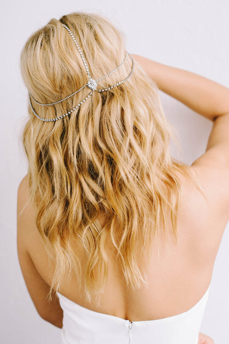 Crystal hair chain | Sara Gabriel bridal accessories