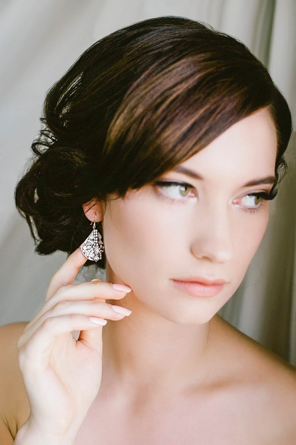 Art deco teardrop bridal earrings