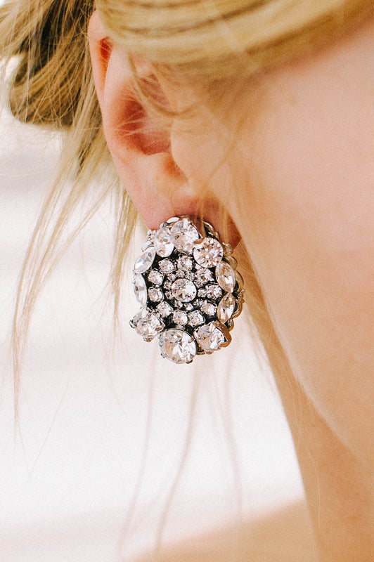 Statement crystal stud earrings