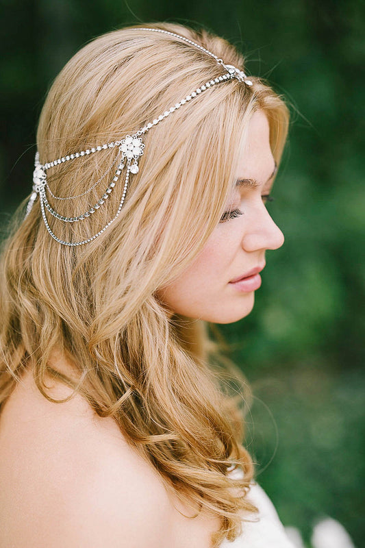 Crystal flower hair chain | Sara Gabriel