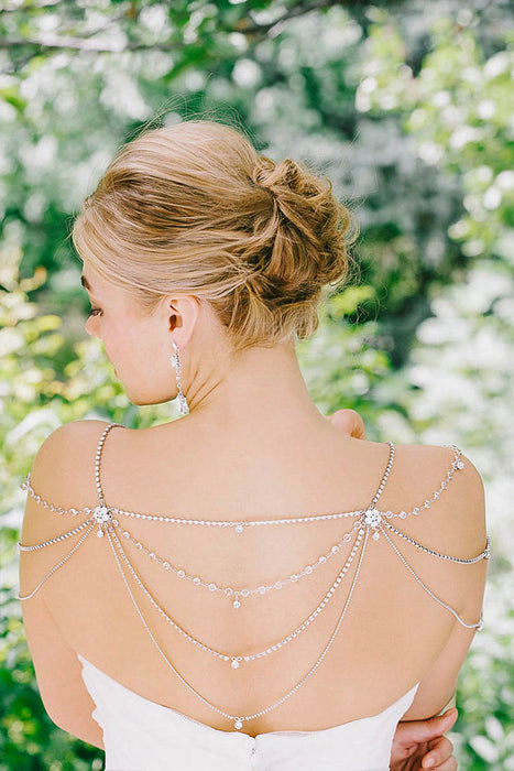 Customize your strapless gown | Sara Gabriel shoulder jewelry with Swarovski crystals and pearls