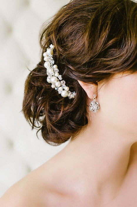 Whimsical crystal and pearl hair comb