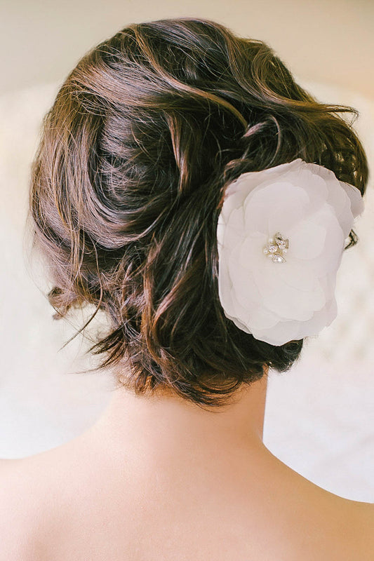 Silk flower bridal clip