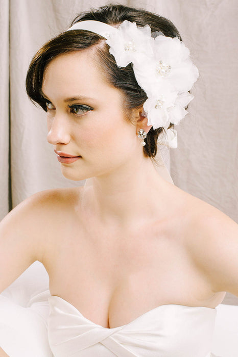 Soft and romantic silk flower bridal sash | Sara Gabriel
