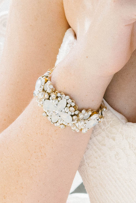 Statement pearl and crystal bridal cuff bracelet