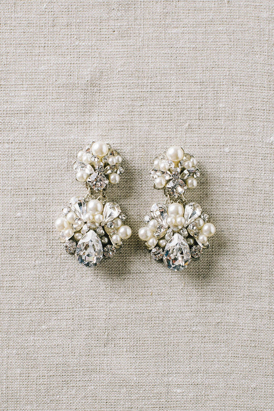 Classic pearl and crystal statement bridal earrings