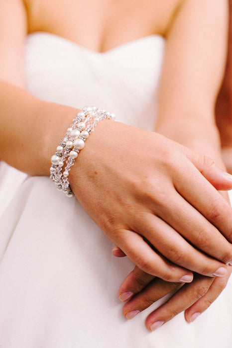 Three strand crystal and pearl bridal bracelet