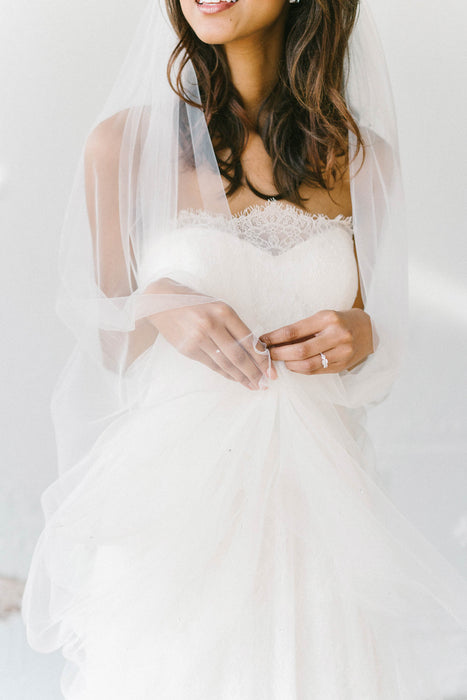 Chapel length bridal veil with delicate Swarovski crystal detailing