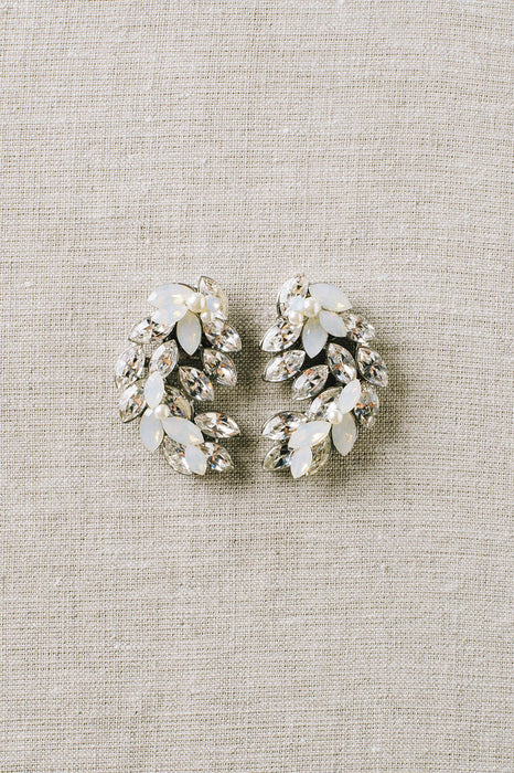 Crystal leaf bridal earrings | Sara Gabriel