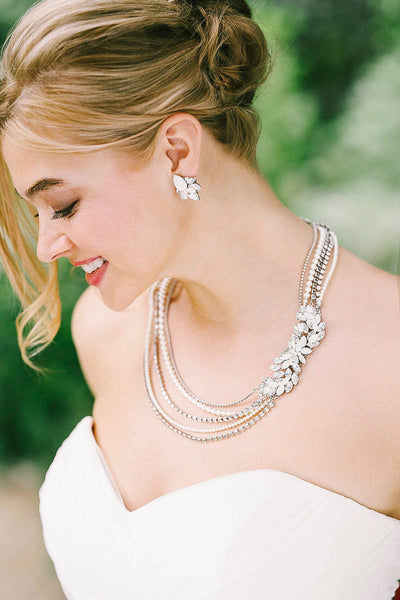 Crystal leaf and pearl necklace | Sara Gabriel
