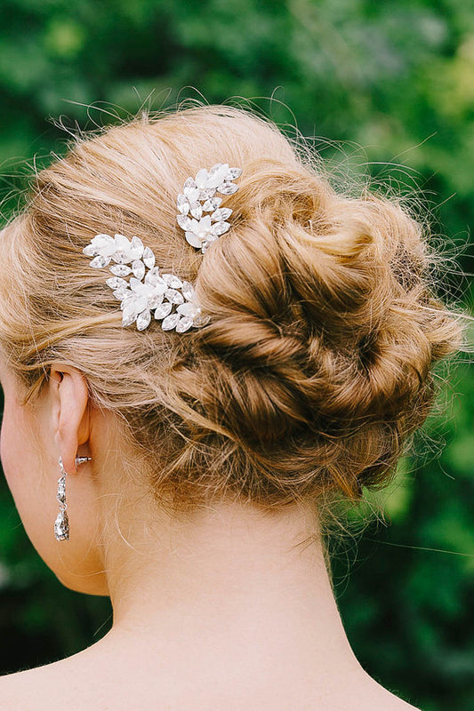 Crystal leaf hair pins | Sara Gabriel