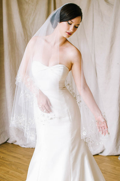 Silver thread-work and embroidered crystal bridal veil | Sara Gabriel
