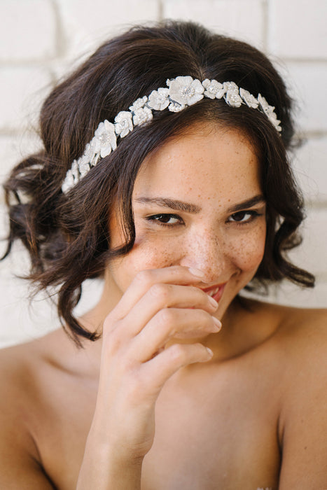 Floral wedding headpiece with crystal detailing | Sara Gabriel