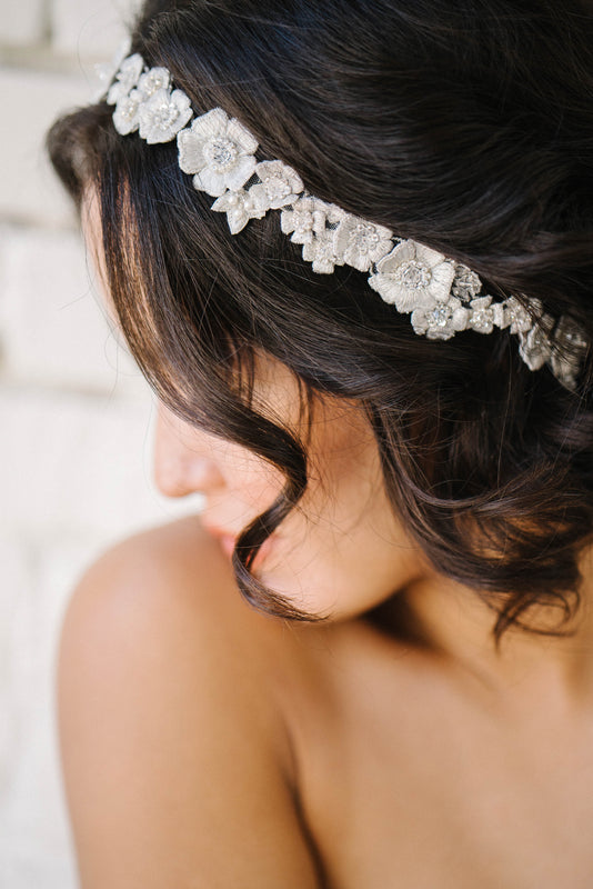 Floral crystal bridal headpiece | Sara Gabriel