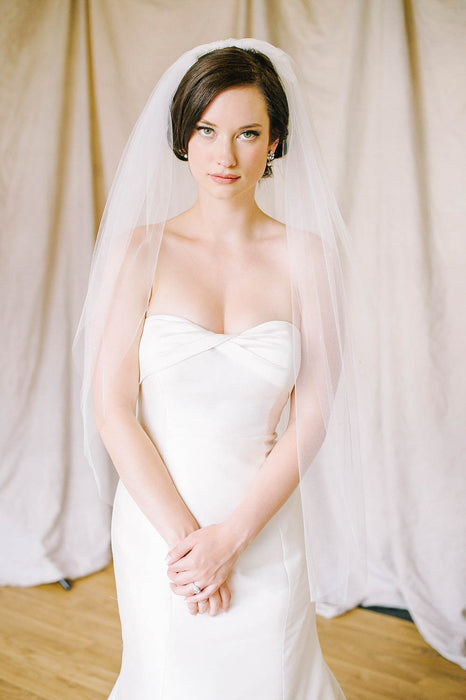 Double layer sheer cut edge bridal veil | Sara Gabriel