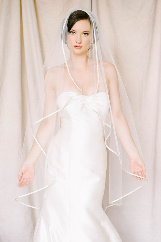 Delicate silk ribbon trim drop veil | Sara Gabriel