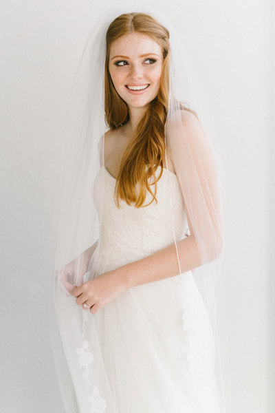 Couture French lace bridal veil | Sara Gabriel