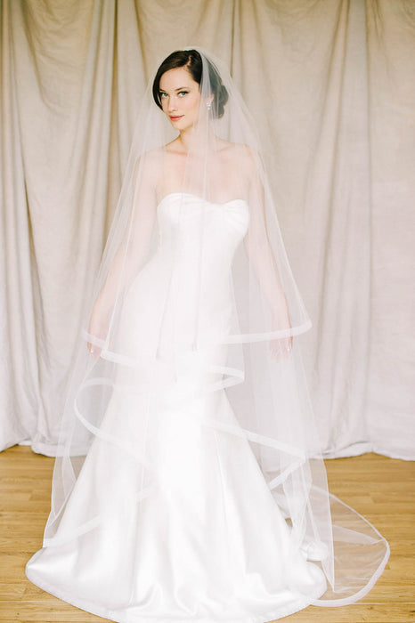 Draping horsehair trim veil with blusher | Sara Gabriel